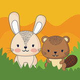 cute in a forest, colorful design. vector illustration