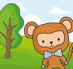 cute monkey in a forest, colorful design. vector illustration