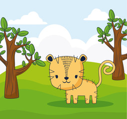 cute tiger in a forest, colorful design. vector illustration