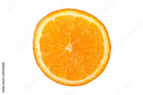 Orange slice isolated on white background. Fresh citrus tropical fruit.