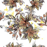 Beautiful illustration with vector hand drawn flowers in vintage Victorian style - 205586661