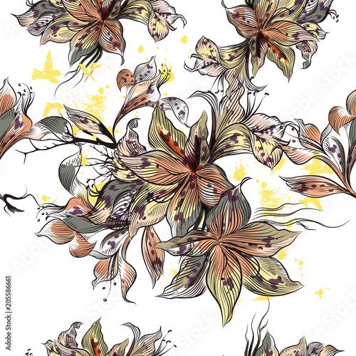 Beautiful illustration with vector hand drawn flowers in vintage Victorian style