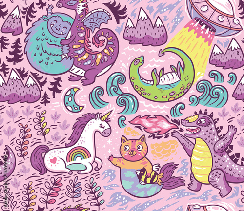 Materiał do szycia Fantastic creatures, animal pattern. Vector cute background