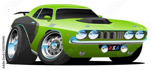 Aluminium Auto Classic Seventies Style American Muscle Car Cartoon Vector Illustration