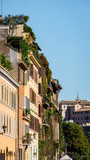 Row of vibrant, classic Italian buildings in Rome, Italy - 205597260