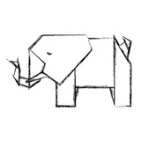 elephant origami paper icon vector illustration design - 205599655
