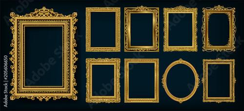 Zestaw zaproszenia złoty i zielony projekt ramki royal frame