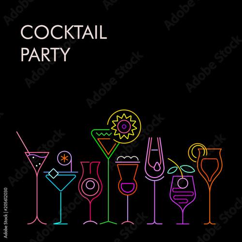 Fotobehang Abstractie Art Cocktail Party neon background
