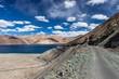 Quadro Mountain road along Pangong lake in Ladakh. India. Version 2.