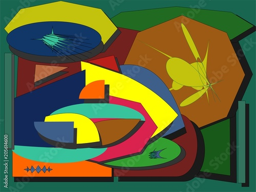 abstract colorful background , fancy geometric and curved shapes on green