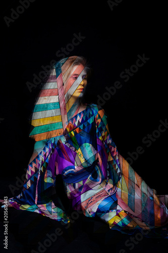 Foto Murales fashion woman double exposure on black background