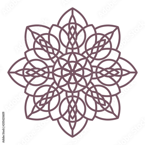 Line art of simple circular celtic mandala design for coloring books