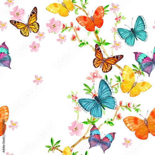 happy seamless texture with flying butterflies. watercolor painting - 205622460