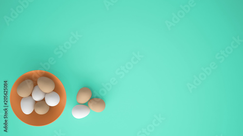 Chicken eggs into a orange cup on the table, turquoise background with copy space, breakfast easter food concept idea, top view © ArchiVIZ