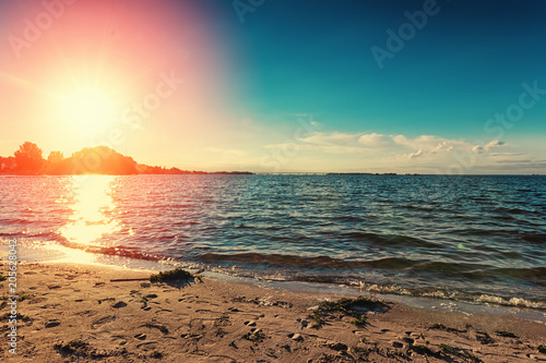 Fotobehang Zomer Sunset over river. Nature scenic landscape
