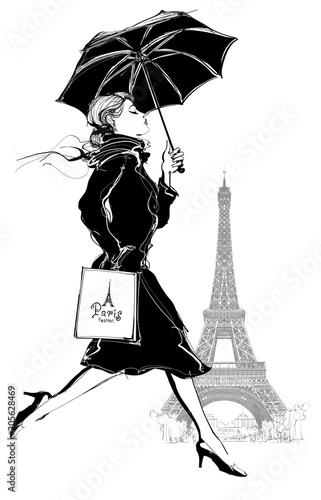 Fotobehang Art Studio Woman with shopping bag