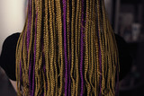 texture of African braids and girl, natural hair color, artificial hair