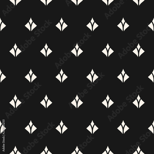 Materiał do szycia Vector seamless pattern with small diamond shapes, feathers, flower silhouettes