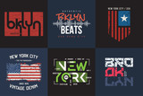 Set of six vector styled New York and Brooklyn t-shirt and appar - 205632009