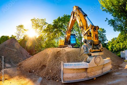 Fototapeta Big excavator in construction site
