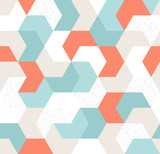Seamless pattern with blue, beige, white, orange arrows. Endless background of geometric shapes. Vector illustration. - 205640022