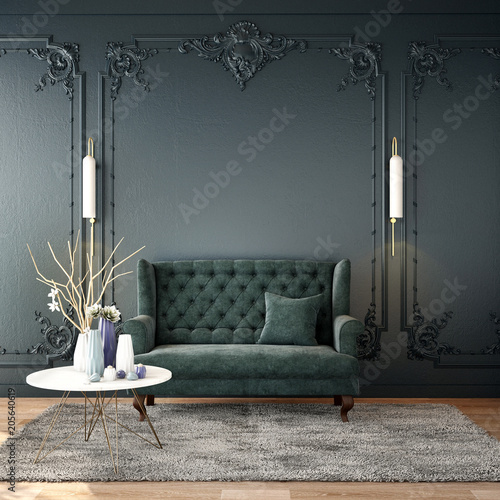 interior design for living area or reception with grey carpet , armchair,plant,cabinet on wood floor and classic wall background / 3d illustration,3d rendering