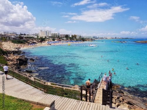 Canvas Cyprus beautiful coastline, seascape, blue lagoon, rest tourists