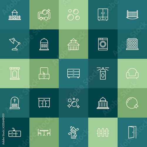 Aluminium Olijf Modern Simple Set of buildings, furniture, housekeeping Vector outline Icons. Contains such Icons as mill, room, power, courthouse, soap and more on green background. Fully Editable. Pixel Perfect.