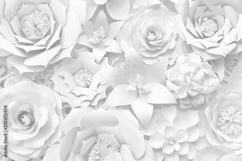 Fototapeta White paper flower wall, floral background, wedding card, greeting card template
