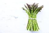 Fresh Green Asparagus on White Background; organic  - 205654408