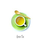 Cup of Green Tea on white background; flatlay - 205654445