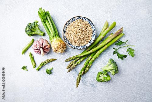 An Arrangement of Fresh Vegetables and Buckwheat for a Healthy Vegan Dish; flatlay