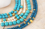 natural gemstone jewelry - turquoise and agate bead bracelets - greek jewelry
