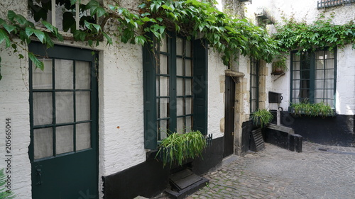 Old cobblestone street with old houses in Antwerp, Belgium.