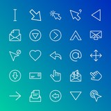 Modern Simple Set of arrows, cursors, email Vector outline Icons. Contains such Icons as  direction, cursor, right,  circle,  click,  up and more on gradient background. Fully Editable. Pixel Perfect.