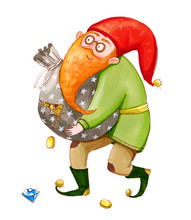 Smiling Dwarf Carries A Torn Bag Full Of Coins Color Marker Illustration Sticker