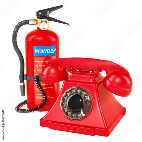 Phone with fire extinguisher, 3D rendering