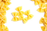 farfalle italian pasta with copy space on white background - 205679462