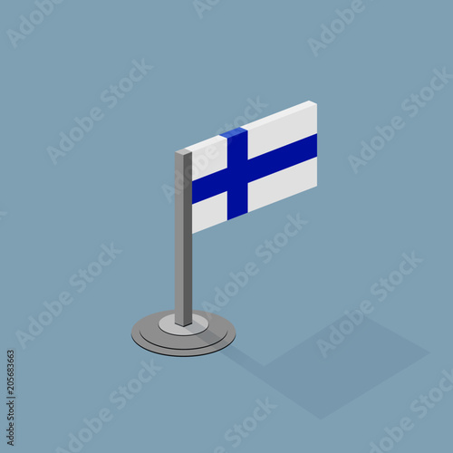 Finland Isometric Flag with Flat Web Colors