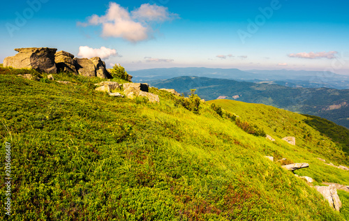 Aluminium Honing mountainous landscape in summer. lovely scenery with rocky formation on the grassy hill under the blue sky with some clouds.