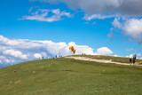 Paragliders in the air at Lake Garda region and Monte Baldo Macesine, Provincia di Verona, Veneto, Italy