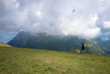 Panorama of the gorgeous alps mountains and hiker with dog on Monte Baldo mountain and white clouds Macesine, Provincia di Verona, Veneto, Italy
