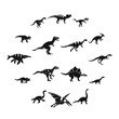 Dinosaur icons set. Slimple illustration of 16 dinosaur vector icons for web