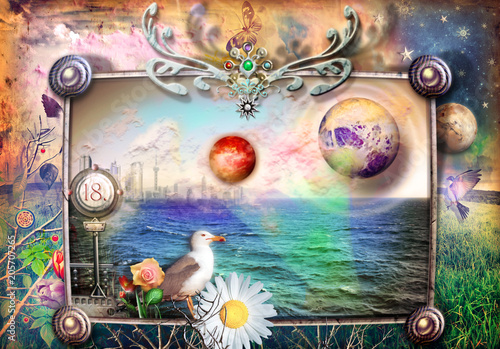 Aluminium Imagination Fantastic and fairytale landscape with sea and countryside