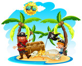 Pirate and a Boy on Island - 205717457
