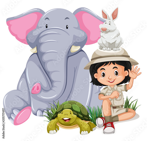 Poster A Safari Girl With Happy Animal
