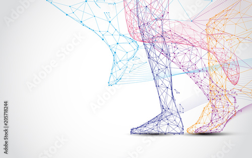 Fototapeta Close up of runner s legs run form lines and triangles, point connecting network on blue background. Illustration vector