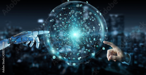 White humanoid hand using digital global network 3D rendering © sdecoret