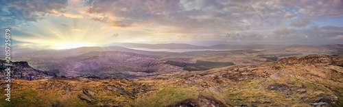 Wall mural Panoramic hazy sunset in a county Kerry