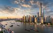 Leinwanddruck Bild - Blick auf die modernen Wolkenkratzer der Skyline von Shanghai bei Sonnenuntergang, China